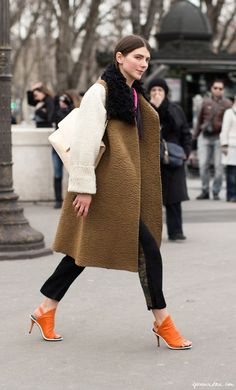 Colorblock coat, cream bag, orange sandals, / Garance Doré