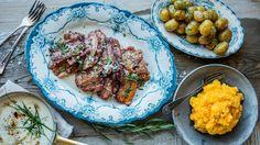 """- """"Flesk og Duppe""""  med kålrotstappe -  skillet-roasted brined slices of porkbelly,-served with a horsradish-spiked bechamél sauce, root mash and potatoes, retro food..."""