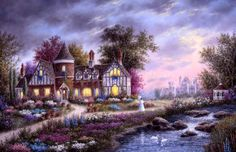 "Heaven and Earth Designs ""Ashleigh Gardens"" Artwork by Dennis Lewan Free Cross Stitch Charts, Dmc Cross Stitch, Fantasy Cross Stitch, Cross Stitch House, Cross Stitch Letters, Cross Stitch Books, Cross Stitch Samplers, Cross Stitching, Stitching Patterns"