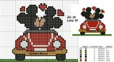 Mickey e Minie Tiny Cross Stitch, Wedding Cross Stitch, Cross Stitch Animals, Cross Stitching, Cross Stitch Embroidery, Disney Stich, Disney Cross Stitch Patterns, Crochet Disney, Plastic Canvas Patterns