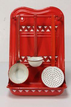 Red Graniteware Enamel Utensil Rack Holder 3 Utensils Dippers Skimmer Zig Zag   eBay