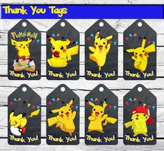 Pokemon printable digital Party Thank You Tags , perfect for your event! WHAT YOU GET: -You will receive an instant download of this file as a high resolution (300 dpi) jpg. - Please note that this is a DIGITAL FILE. NO PHYSICAL ITEM will be sent.  -- You will receive a JPG file !which will be Thank You Card ,size 2 x 4 ,8 Thank You Tags per page. -300dpi resolution  HOW THIS WORKS: 1. Purchase your design and pay using PayPal  You can print the file at home, at a photo lab, or at a copy…