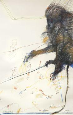 John Olsen (Australian, b. Monkey Looking at Numbers Passing By, Pastel on paper, 103 x cm. Australian Painting, Australian Artists, Pastel Artwork, Art Courses, Photo Illustration, Illustrations, Gravure, Comic Art, Sketches