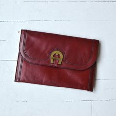 Etienne Aigner clutch • 1970s oxblood bag • 70s leather envelope clutch