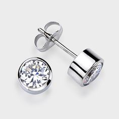 0 50 Ct Each Round Bezel 14k Stud Earring High Quality Cubic Zirconia Earrings