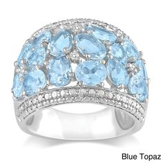 Miadora Sterling Silver Gemstone and Diamond Accent Ring (Blue Topaz Size 6), Women's