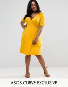 a314b8f54aa ASOS CURVE Wrap Midi Tea Dress with Ruched Shoulder Plus Size Maxi Dresses