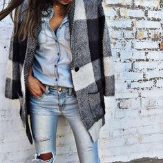 Love the plaid flannel thrown over an all denim outfit // Shop pieces to recreate the look on Effinshop.com