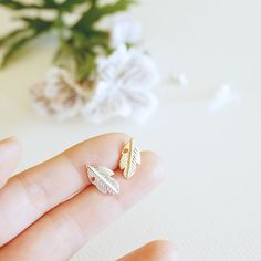 Tiny Leaf Studs by HOUSEINCONNUE on Etsy