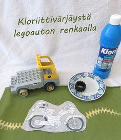 Kloriittipainantaa Lego-auton renkaalla Nerf, Craft Ideas, Toys, Crafts, Activity Toys, Manualidades, Handmade Crafts, Diy Crafts, Craft