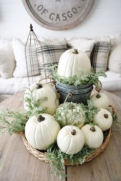 Early Fall Home Tour Neutral fall decor like white pumpkins and hints of greenery gradually transition your home for the season.Neutral fall decor like white pumpkins and hints of greenery gradually transition your home for the season. Decoration Christmas, Thanksgiving Decorations, Seasonal Decor, Holiday Decor, Thanksgiving Table, Fall Home Decor, Autumn Home, Diy Home Decor, Room Decor
