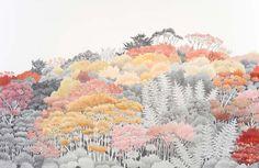 yukiko-suto-10 planten natuur grafisch geel oranje roze rood schets