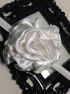 White headband: Huge white satin rose flower headband,  white hair accessory, girls headband, baby headband, adult headband by VittysPretties on Etsy