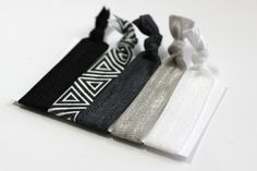 Set of 5 Black & White Triangle Hair Ties Ponytail by ElenasBows, $5.00 #hair, #hairties, #ponytailholder, #hairbands, #tribal, #elenasbows, #black, #white, #grey, #gray