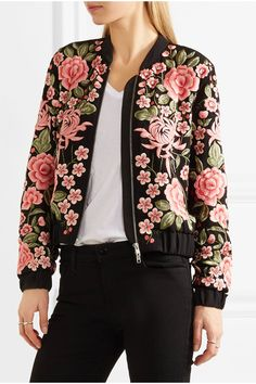 Needle & Thread - Embroidered Embellished Crepe Bomber Jacket - Black - UK