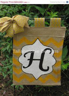 20% OFF TODAY Personalized Burlap Garden Flag In Chevron * Initial Garden Flag*Summer Garden Flag*Monogram Garden Flag- Yard Flag