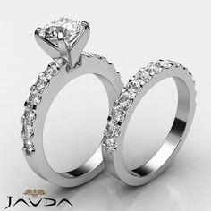 Round Diamond Women's Engagement Bridal Set Ring GIA F VS1 14k White Gold 2.7ct