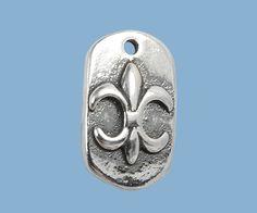 Sterling Silver Charm Fleur de Lis 8X14mm / great silver charm #jewelrymaking