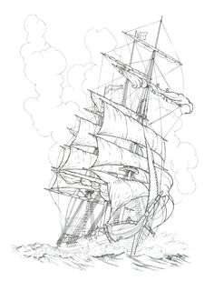 DoodleNation Giant Colouring In Poster - Seven. Pirate Ship Drawing, Boat Drawing, Pencil Art Drawings, Tattoo Drawings, Art Sketches, Pirate Ship Tattoos, Old Sailing Ships, Desenho Tattoo, Nautical Art