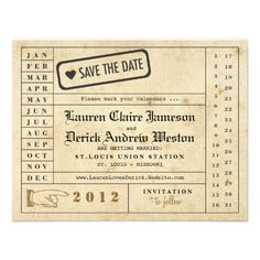 Vintage Punch Card Save the Date Custom Invite
