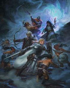Battle against goblins (from the 5e Dungeons & Dragons Player's Handbook). Art by Kieran Yanner.