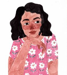 Illustrated portrait of a woman by Brunna Mancuso