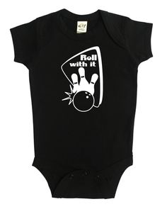 "The ""Roll With It"" Bowling baby bodysuit features a retro-inspired design of a bowling ball knocking down pins.  Both the shirt and graphic are super durable and wash well. Graphic is printed with white, child-safe transfer vinyl. The bodysuits are very high-quality, 100% cotton, and soft!"