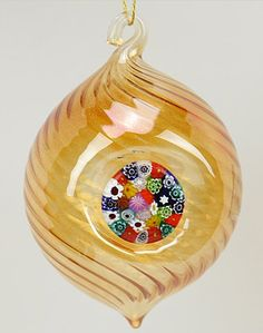 Murano Glass Millefiori Christmas Ornament - Amber Gold