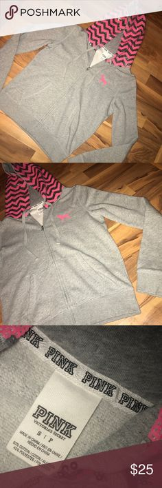 "Gray PINK sequin zip up hoodie Like new gray PINK zip up hoodie with sequin detail. Excellent used condition. 21"" from armpit to armpit, 23"" total length. PINK Victoria's Secret Tops Sweatshirts & Hoodies"