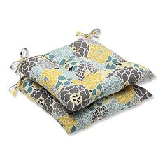 Set of 2 Yellow Blue and Gray Flor Grande Decorative Outdoor Patio Wrought Iron Seat Chair Cushions 19 * Read more  at the image link.