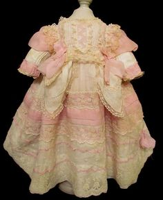 Wonderful ensemble for your German or French doll. This is an earlier old doll dress with added lace and pink fabric. The pink fabric is Old Dolls, Antique Dolls, Vintage Dolls, Doll Costume, Antique Clothing, Pink Fabric, Children Clothes, Ruby Lane, Vintage Children
