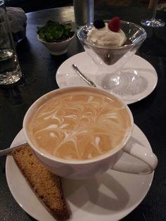 Latte and dark chocolate pot de creme at Vaudeville in Fredericksburg.