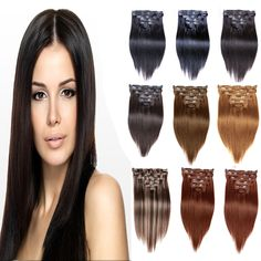 "Hot Sale 16""-28"" Color 1B Cheap Brazilian Human Hair Remy Clip In Extensions 8Pcs 7A Silky Clip In Straight Human Hair Extension Black Women Wigs http://www.adepamaket.com/products/hot-sale-16-28-color-1b-cheap-brazilian-human-hair-remy-clip-in-extensions-8pcs-7a-silky-clip-in-straight-human-hair-extension/ US $28.00    #adepamaket"