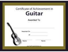 Guitar teachers can award their students with this free, printable musical instrument certificate. Free to download and print