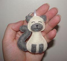 Wool Felt Siamese Cat Ornament, Cat Ornament, Felt Cat, Cat Decoration, Felt Animal, Birthday, Gift, Baby Shower Gifts, Felt Decor