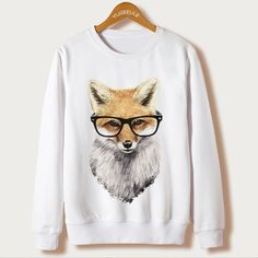 3ec34142d5b Fox Harajuku Sweatshirt Women Pullover 2018 Casual Animal Print White  Hoodies Full Sleeve O neck moletom Clothing Casual Hooded-in Hoodies &  Sweatshirts ...