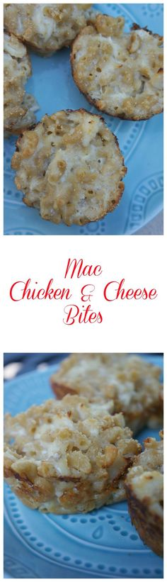 These Mac, chicken and cheese bites are the perfect lunch for kids! They are freezer friendly, so they'll be ready whenever you need them!