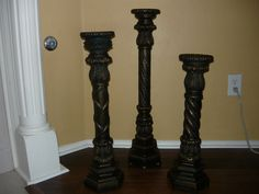 Set of 3 candle holders. Hand made and hand finished. Old World, Traditional, Tuscan, French, Medieval Home decor.