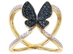 Park Avenue Diamonds(Tm) .54ctw Blue & White Diamonds 18k Yellow Gold Over Silver Butterfly Ring