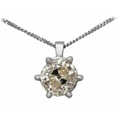 Preowned 1.55ct Diamond & Platinum Solitaire Pendant - Antique Circa... ($6,267) ❤ liked on Polyvore featuring jewelry, pendants, drop necklaces, multiple, diamond jewellery, pendant jewelry, charm pendants, platinum jewelry and victorian jewelry