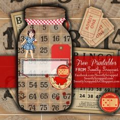 Free Mason Jar Printable with Board Game Accents and Sweet Vintage Girl  http://sweetlyscrappedart.blogspot.com/2014/03/free-mason-jar-printable-with-board.html