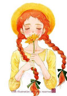 anne of green gables art Art And Illustration, Illustrations, Cartoon Kunst, Cartoon Art, Dibujos Cute, Anne Of Green Gables, Anne Green, Anime Art Girl, Girl Cartoon