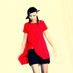Popper tunic, short sleeved, red By Vietto