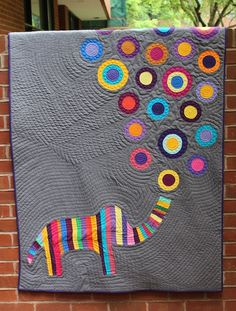 Applique Elephant Lap Quilt by Pippa Patchwork, via Flickr - love the circles