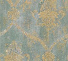 Nouveau exclusif Holden motif floral damassé victorien doré métallisé Papier peint