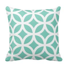 Modern Stylish Geometric Pattern Pillow in Turquoise and White