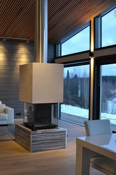 Modern loghouse by decom interiors House Plans, Wall Mount Fireplace, Family Room Design, Home, Interior Deco, Family Room, House, Log Homes, Room Design