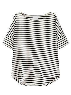 Choies Women's Cotton Monochrome Stripe Short Sleeve Dipped Hem T-shirt/Top