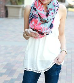 BP. Floral Print Infinity Scarf | a thoughtful place blog