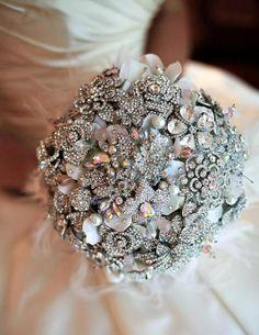 Rhinestone jeweled brooch bouquet